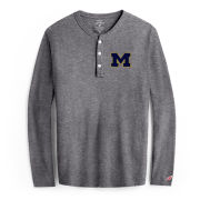 League Collegiate Outfitters University of Michigan Gray ''All American'' Long Sleeve Henley Tee