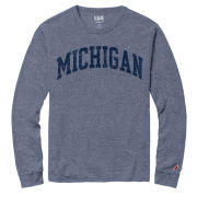 League Collegiate Outfitters University of Michigan Heather Blue Twisted Triblend Long Sleeve Tee