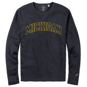 League Collegiate Outfitters University of Michigan Navy Long Sleeve Slub Thermal Tee