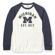 League Collegiate Outfitters University of Michigan Oatmeal/Navy Victory Falls Long Sleeve Raglan Tee