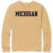 League Collegiate Outfitters University of Michigan Varsity Gold Long Sleeve Triblend Tee