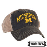 Legacy University of Michigan Women's Washed Navy Mesh Back Snapback Trucker Hat