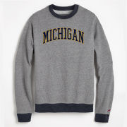 League Outfitters University of Michigan Triblend Colorblock Crewneck Sweatshirt