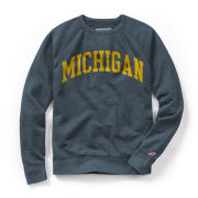 League Collegiate Outfitters University of Michigan Weathered Navy Vineyard Crewneck Sweatshirt