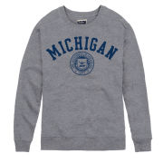 League Collegiate Outfitters University of Michigan Heather Gray Heritage Seal Crewneck Sweatshirt