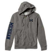 League Collegiate Outfitters University of Michigan Gray Heritage Full Zip Hooded Sweatshirt