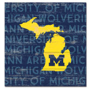 Legacy University of Michigan Wood Plank State of Michigan Sign