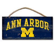 Legacy University of Michigan Wood Plank ''Ann Arbor'' Hanging Sign