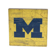 Legacy University of Michigan Yellow with Navy Block ''M'' Table Top Square Sign