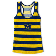 League Outfitters University of Michigan Ladies Spirit Striped Tank Top