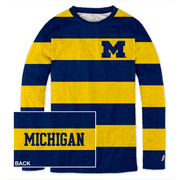 League Outfitters University of Michigan Ladies Long Sleeve Spirit Stripe Tee
