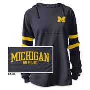 League Outfitters University of Michigan Ladies Navy Hooded Rah Rah Tee