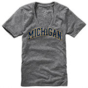 League Outfitters University of Michigan Gray My Favorite V-Neck Tee
