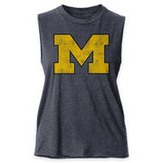 League Outfitters University of Michigan Ladies Heather Navy Muscle Tank