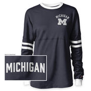 League Outfitters University of Michigan Navy/ White Oversized Rah Rah Tee