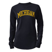 League Outfitters University of Michigan Ladies Navy Long Sleeve Waffle Tee