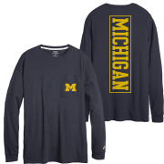 League Collegiate Outfitters University of Michigan Women's Navy Long Sleeve Fall Pocket Tee