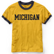 League Collegiate Outfitters University of Michigan Women's Maize/Navy Ringer Camp Tee