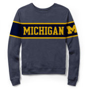 League Collegiate Outfitters University of Michigan Women's Heather Navy Long Sleeve Intramural Tee