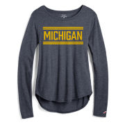 League Collegiate Outfitters University of Michigan Women's Heather Navy Long Sleeve Easy Tee