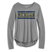 League Collegiate Outfitters University of Michigan Women's Heather Gray Long Sleeve ''My Favorite'' Tee