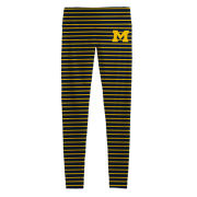 League Collegiate Outfitters University of Michigan Women's Skinny Striped Compression Leggings