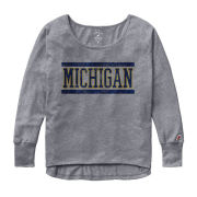 League Collegiate Outfitters University of Michigan Women's Heather Gray Oversized Long Sleeve Tee
