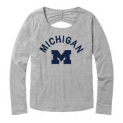 League Collegiate Outfitters University of Michigan Women's ''Unwind'' Platinum Gray Long Sleeve Open Back Top