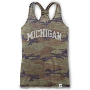 League Collegiate Outfitters University of Michigan Women's Camouflage Burnout Racerback Tank Top