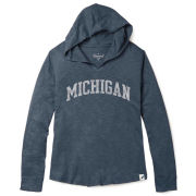 Unwind by League University of Michigan Women's Washed Denim Blue Slub Hooded Tee