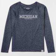 Unwind by League University of Michigan Women's Heather Navy Keeper Dolman Long Sleeve Tee