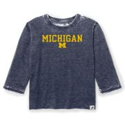 Unwind by League University of Michigan Women's Heather Navy ''Janice'' 3/4 Sleeve Burnout Tee
