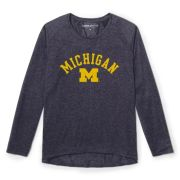 League Active University of Michigan Women's Heather Navy Tri-Flex Long Sleeve Tee