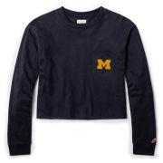 League Collegiate Outfitters University of Michigan Women's Navy Long Sleeve Midi Crop Pocket Tee