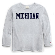 League Collegiate Outfitters University of Michigan Women's Ash Gray Long Sleeve Oversized Tee