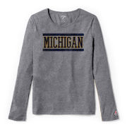 League Collegiate Outfitters University of Michigan Women's Heather Gray Long Sleeve Freshy Tee