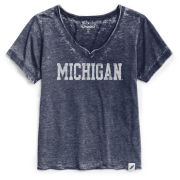 Unwind by League University of Michigan Women's Heather Navy Loose Fit V-Neck Burnout Tee