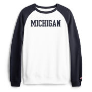 League Collegiate Outfitters University of Michigan Women's White and Navy Terry Raglan Crewneck Sweatshirt