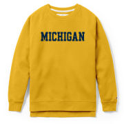 League Collegiate Outfitters University of Michigan Women's Yellow Academy Crewneck Sweatshirt