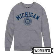 League Collegiate Outfitters University of Michigan Women's Heather Gray Victors Springs Seal Crewneck Sweatshirt