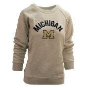 League Collegiate Outfitters University of Michigan Women's Oatmeal Academy Crewneck Sweatshirt