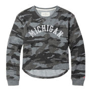 League Collegiate Outfitters University of Michigan Women's Camo Terry Crewneck Sweatshirt