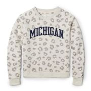 League Collegiate Outfitters University of Michigan Gray Leopard Academy Crewneck Sweatshirt