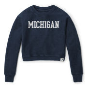 League Collegiate Outfitters University of Michigan Women's Navy Denim Timber Crop Crewneck Sweatshirt