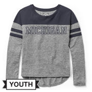League Collegiate Outfitters University of Michigan Youth Girls Long Sleeve Gray/Navy Gameday Tee