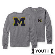 League Collegiate Outfitters University of Michigan Youth Heather Gray Long Sleeve Pocket Tee