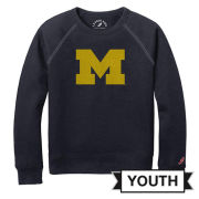 League Collegiate Outfitters University of Michigan Youth Navy Raglan Crewneck Sweatshirt