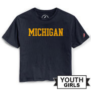 League Collegiate Outfitters University of Michigan Youth Girls Navy Cut-Off Tee