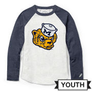 League Collegiate Outfitters University of Michigan Youth Oatmeal/Heather Navy College Vault Raglan Long Sleeve Tee
