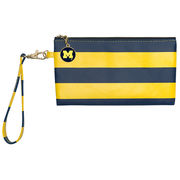 Lillybee University of Michigan Navy and Yellow Striped Wristlet